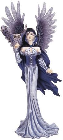 Grey Pixie Fairy with Owl Collectible Fantasy Figurine