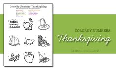 Color-by-number Thanksgiving picture