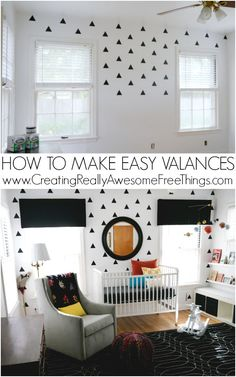 Make super easy valances for any window with insulation, tape, felt, and a stapler!