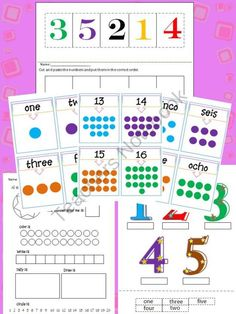 Learning numbers 1-20 (English & Spanish) worksheets39 product from mzmary on TeachersNotebook.com