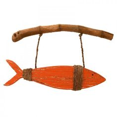 LARGE Orange Wooden Fish on Driftwood
