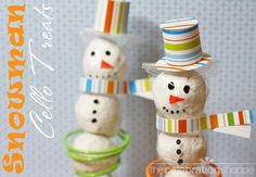 Snowman Cello Bag treats - such a fun idea!