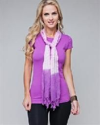FREE SHIPPING Casual Cap Sleeve Purple Tee with Detachable Scarf S,M,L