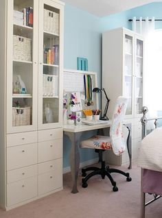 Sweetie Pie Style: Interior Infatuation: Home Office Ideas....great use of space for a guest/office/craft room