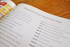 """Great idea to add a """"milestones"""" appendix to the back of a photo book so you remember all the important dates"""