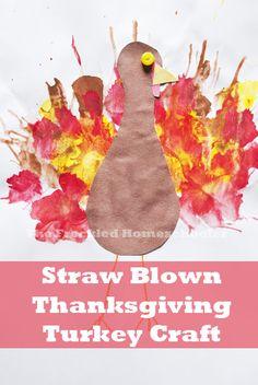 Straw Blown Thanksgiving Turkey Craft