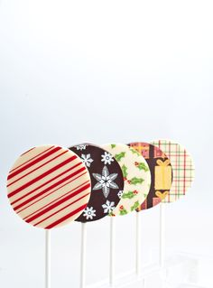 Chocolate lollipops, in an assortment of Christmas designs.