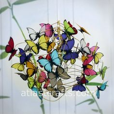 Lamp with multicolor butterflies