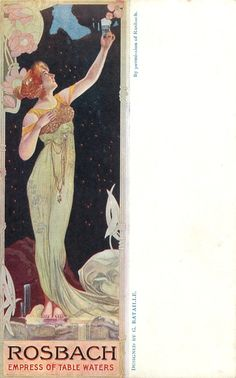 ROSBACH EMPRESS OF TABLE WATERS  art nouveau style woman holds up glass