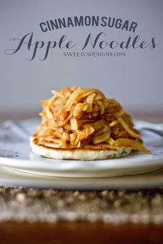 Apple noodles- so delicious, easy to make, and a great healthy treat! Use as a pancake topper, nummers!