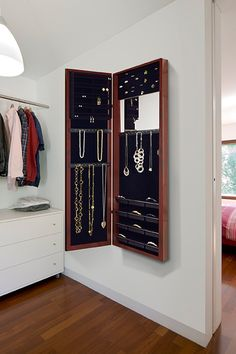 On-the-Wall Cherry Mirrored Jewelry Armoire