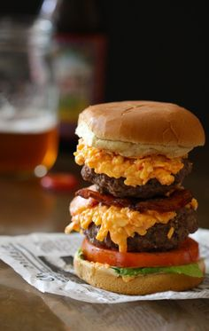 double pimento cheese burger with crispy bacon