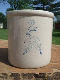 Two Gallon Red Wing Crock with Birch leaves e