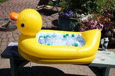 The cooler for the drinks was a baby bathtub from our registry. After the party, they gave the tub to us as a gift.