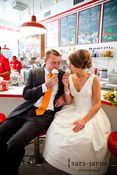 idea, ice cream engagement, dress engagement, dresses, dress wedding, the dress, inspir, photographi pose, ice cream parlor