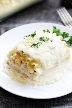 Creamy white chicken lasagna roll ups - a quick and easy, instant family favorite!