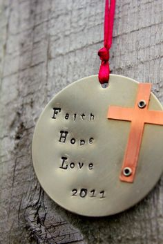Religious Cross Ornament Faith Hope Love, Holiday Ornament, Christmas, Confirmation, Personalized Christian Ornament, Spiritual Christmas. $19.50, via Etsy.
