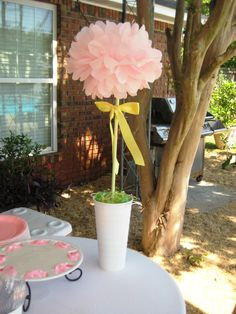 parti decor, pom poms, birthday parties, potted flowers, original gifts