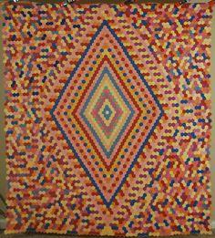 Lg. Vintage 30's Mosaic Hexagon Medallion Flower Garden Antique Quilt !