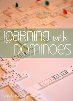 Playing Dominoes as a single player - makes for a little learning plus a great quiet time activity for preschoolers.