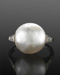 Fred Leighton. Art Deco Natural Pearl & Diamond Ring.