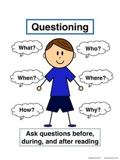 Questioning Poster: Boy, in two skin tones and grayscale $ classroom, idea, school, literaci, question poster, read, anchor chart, teach, posters