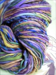 iris - handspun gypsy handpainted art yarn by pancakeandlulu on @Etsy