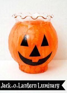 Halloween Craft: Jack-o-Lantern Luminaries | MomItForward.com