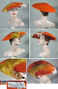 Orange Fur Felt 1950 Hats with Bird by Suzy et Paulette