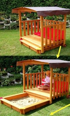 Pallet outdoor play area. This is cool!