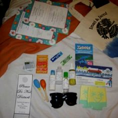 Welcome Bags Must For A Destination Wedding.  1. Shades 2. Vitamin C  3. Advil/Tylenol 4. Itinerary  5. Brochures of excursions & site seeing options 6. Travel size aloe, sunscreen, tanning oil, & body scrub (sea salt) 7. A favor/ souvenir for keepsake