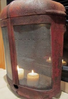 Front Part of a Tractor put in front of fire place or to make a faux fireplace with candles