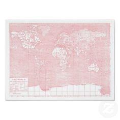 Her World ~ Pink Vintage World Map Poster