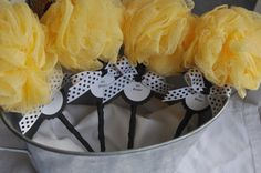 Bumble Bee Baby Shower favor Rattle with Tag