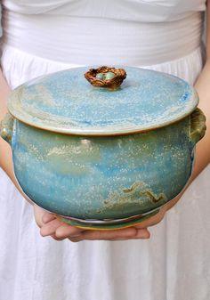 wheel thrown  Birds Nest casserole from Lee Wolfe Pottery — now in stock