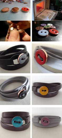 Cute! DIY button bracelets.