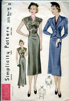 1930s Simplicity Skirt, Jacket & Blouse