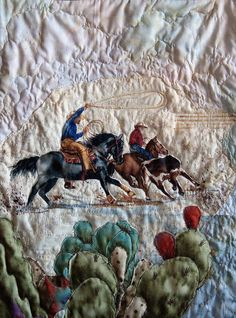 'Ranch Partners' western landscape quilt (12 x 18) by fabric artist Jeanine Malaney  <> Fantastic! (western, wild wild west, textile art)
