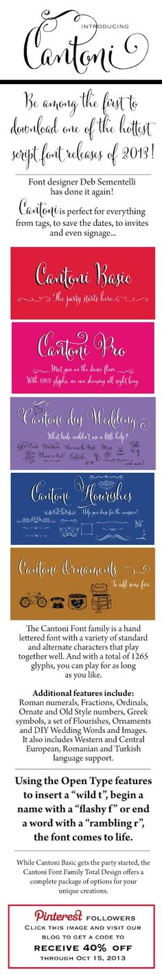 CT-Designs Calligraphy and Wedding Stationery: Introducing the CANTONI font family by Deb Sementelli - #script #fonts #scriptfont #weddingfont