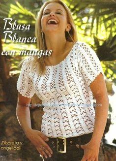 White Short Sleeve Top free crochet graph pattern