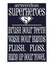 Cream & Navy 'Superheroes' Bathroom Wall Art