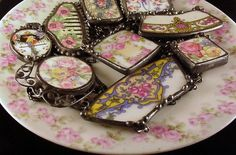 Matching Broken Plate Necklaces vintage English chintz Recycled China Broken China Jewelry