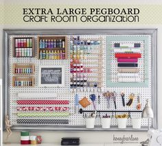 extra large pegboard craft room organization