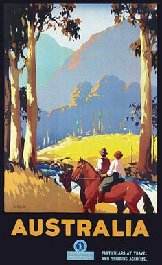 Vintage James Northfield Australian Travel Posters Prints - c, 1930's. The overlapping, gradual change of colours creates a sense of foreground and background. Tall trees and two people on a horse exaggerates the height and beauty of the mountains.
