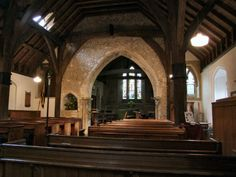 St Mary's Church, Crawley, Hampshire. UK - 1347. A rare survival of a church with timber arcade posts. #ThrowbackThursday