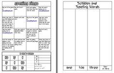 Spelling/HFW Homework Freebie
