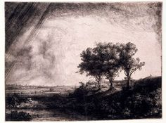 The Three Trees by Rembrandt van Rijn (1643). Etching with drypoint and burin. #etching #printmaking #Rembrandt #V