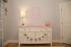 Project Nursery - Circular Wooden Monogram in this Pink and Gray Nursery