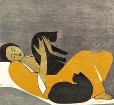 Woman and Cats (1962). Will Barnet [1911 (MA) - 2012 [NYC])  was an American artist known for his paintings, watercolors, drawings, and prints depicting the human figure and animals, both in casual scenes of daily life and in transcendent dreamlike worlds. He died at the age of 101.