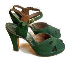 vintage inspired merrell sneakers | Vintage 1940s green suede heels at jjbean